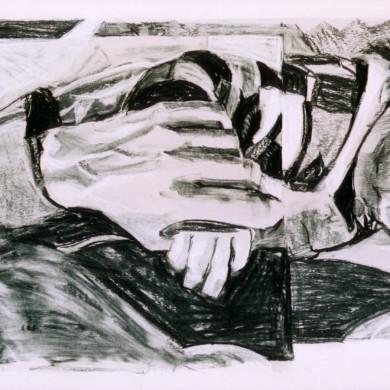 Moeder en kind | 2005 | aquarel en krijt op papier | 79 x 38 cm