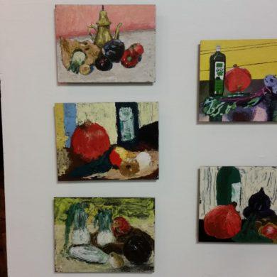 5 groenten-stillevens, acrylverf met paletmes op paneel