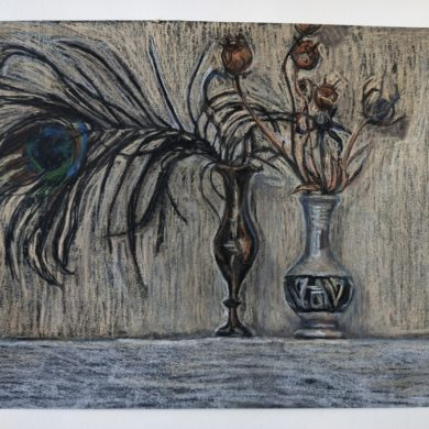 Pauwenveer | 2019 | conté op zwart papier | 29,5 x 21 cm