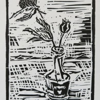 Amarettoflesje | 2020 | linosnede, oplage: 10 | 11,5 x 16,5 cm