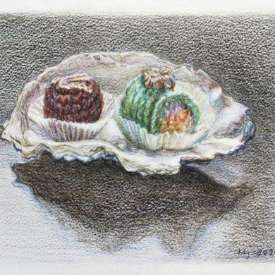 Gehaakte petits-fours | 2020 | aquarelpotlood op papier | 21 x 17 cm